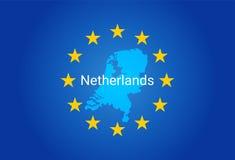 E. - флаг Европейского союза и карта Нидерландов иллюстрация вектора