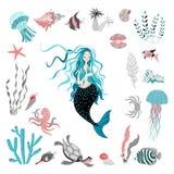 E Характер сказки пузыри копируют вектор текста космоса seaweeds моря жизни иллюстрации рыб Стоковые Фотографии RF