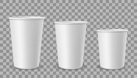 E Чашка для напитков, контейнер мороженого чая кофе сока лимонада в различном размере Пустое 3d реалистическое иллюстрация штока