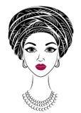 E Яркая шаль и тюрбан связаны на голове Афро-американской девушки Женщина иллюстрация штока
