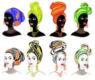 E E Яркая шаль, тюрбан связана на голове Афро-американской девушки _ иллюстрация штока