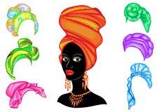 E E Яркая шаль, тюрбан связана на голове Афро-американской девушки _ иллюстрация вектора