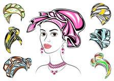 E E Яркая шаль, тюрбан, связанный к голове Афро-американской девушки _ иллюстрация штока