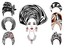 E E Яркая шаль, тюрбан, связанный к голове Афро-американской девушки _ иллюстрация вектора