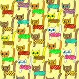 E Яркие милые котята Соответствующий как обои в комнате детей, как создание программы-оболочки подарка для детей и взрослых иллюстрация вектора
