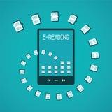 E读书在平的样式的传染媒介概念 免版税图库摄影