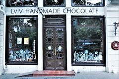 E 利沃夫州chocolaterie商店和咖啡馆 免版税图库摄影