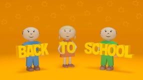 E 在橙色背景的微笑的儿童举行词 图库摄影