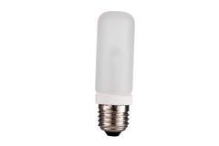 E27在白色背景直接隔绝的闪光灯电灯泡 免版税库存图片