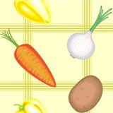 E 在轻的背景的成熟美丽的菜 适当作为墙纸在厨房里,作为背景为 向量例证