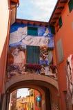 E 城市在伊米莉亚罗马甘地区著名为它的壁画和城堡 图库摄影