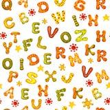 E 多彩多姿的水彩信件英语字母表在白色背景的横幅的设计的, 库存例证