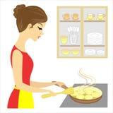E 女孩食物为家庭做准备 油煎在一块板材的可口薄煎饼在煎锅 ?? 库存例证