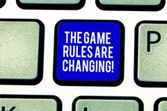 E 意味在建立的竞争协议键盘键上的概念变化 图库摄影