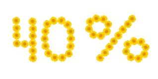 E 折扣40%,白色被隔绝的背景 hrezentemy黄色的花的标志 横幅,飞行物,邀请, 库存图片