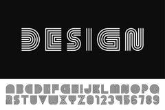 E 时髦英语字母表-简单的拉丁字母和数字 库存例证
