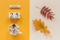E 木日历10月25日,杯子可可粉用蛋白软糖和在黄色米黄背景的黄色秋叶 库存照片