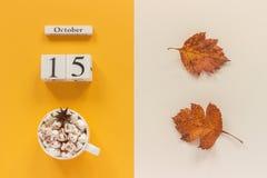 E 木日历10月15日,杯子可可粉用蛋白软糖和在黄色米黄背景的黄色秋叶 免版税库存图片