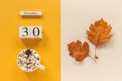 E 木日历10月30日,杯子可可粉用蛋白软糖和在黄色米黄背景的黄色秋叶 免版税库存照片