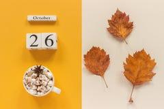 E 木日历10月26日,杯子可可粉用蛋白软糖和在黄色米黄背景的黄色秋叶 图库摄影