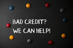E 概念性照片提供的帮助在去贷款的以后然后拒绝了 免版税库存图片