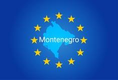 E. -欧盟黑山的旗子和地图 向量 库存例证
