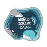 E 海洋生物传染媒介庆祝的致力帮助保护,并且保存世界海洋,水,生态系 向量例证