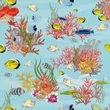 E 热带鱼、珊瑚、海藻和海星 向量例证