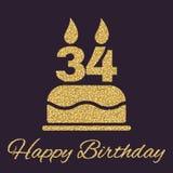 E 生日标志 金子闪闪发光和闪烁 免版税图库摄影