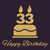 E 生日标志 金子闪闪发光和闪烁 图库摄影