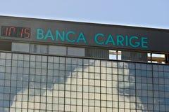 E 邦卡Carige广告标志 热那亚Brignole 免版税库存图片