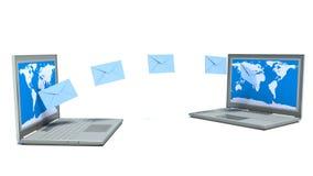 E - 邮件。膝上型计算机。在白色背景的对象 库存图片