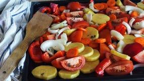 E 食物健康素食主义者 顶视图 免版税库存照片