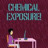 E 饮用概念性的照片接触,呼吸,吃或者有害的化学制品 向量例证