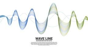 在白色背景的蓝色和绿色声波线曲线 E 皇族释放例证
