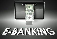 Экран и долларовая банкнота, E-банк слова, электронная коммерция Стоковая Фотография
