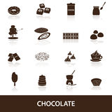 巧克力象设置了eps10 免版税库存照片