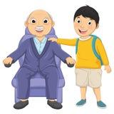 Illustrazione di vettore dell'uomo anziano e del bambino Immagine Stock