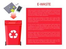E-Abfall-Plakat-Behälter, Vektor-Illustration stock abbildung