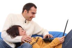 E-achats avec l'ordinateur portatif Photos stock