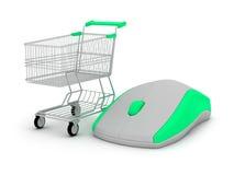 E-acquisto - carrello di acquisto e mouse del calcolatore Fotografie Stock