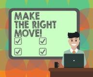 E Affärsidé för att korrekta beslut och handlingar för tagande ska erhålla framgångmellanrumet stock illustrationer