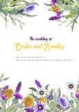 E akwarela kwiatu przygotowania Kartka z pozdrowieniami szablonu projekt zaproszenie ilustracji