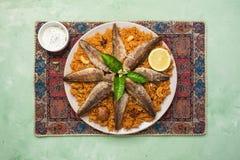 E Alimento do Oriente Médio Vista superior foto de stock royalty free