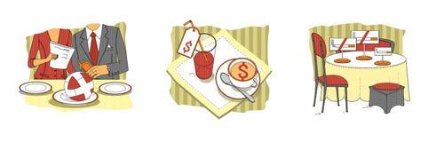E Almoço de negócio situações etiquette r Ilustração da quadriculação ilustração stock