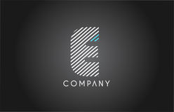 E alphabet line stripe white blue letter logo icon design Royalty Free Stock Image