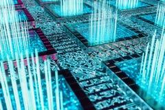 E Aprendizaje de máquina Procesadores del ordenador central en la placa de circuito con luminoso stock de ilustración