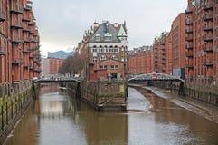 E Armazém do porto em Hamburgo Imagem de Stock Royalty Free