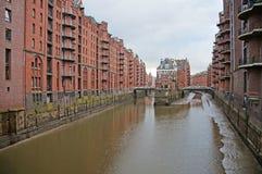 E Armazém do porto em Hamburgo Foto de Stock