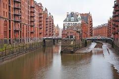 E Armazém do porto em Hamburgo Imagem de Stock